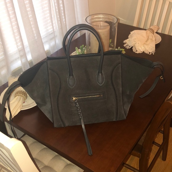 Celine Handbags - Céline suede dark grey Phantom (medium small size) 61be384044860